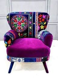 purple patterned chair eclectic interiors and exteriors
