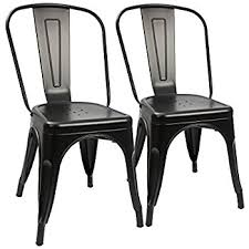 Black Metal Chairs Dining Furmax Metal Dining Chair Tolix Style Indoor Outdoor