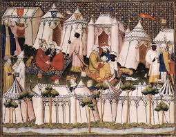 a commonplace book rectangular medieval tents agnolo gaddi the dream of emperor heraclius ca 1385 87 a rectangular tent with a vertical end wall is visible behind the emperor s pavilion