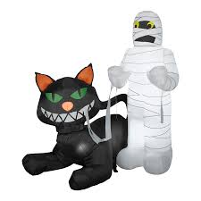 shop gemmy 4 5 ft internal light black cat halloween inflatable at
