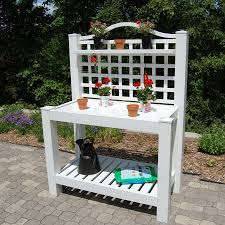 shop dura trel white pvc potting bench at lowes com