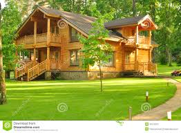 beautiful wooden house in the forest stock image image 43178373