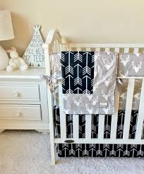 grey deer and black arrows bumperless crib bedding baby bedding