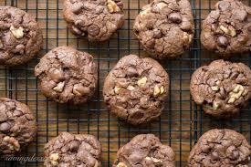 chocolate chocolate chip walnut cookies saving room for dessert
