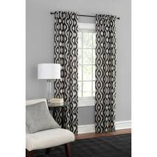 Black And White Bedroom Drapes Mainstays Blackout Print Woven Window Curtains Set Of 2 Walmart Com