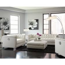Chaviano Pearl White Living Room Set From Coaster Coleman Furniture - White living room sets