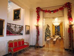 festive garlands decorate the entrance to the east room the