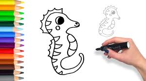 how to draw a sea horse teach drawing for kids and toddlers