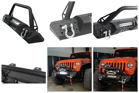jeep yj winch fb22004 fishbone offroad front stubby winch bumper with tube guard