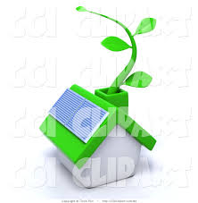 clip art of a 3d green eco friendly home with a solar panel and