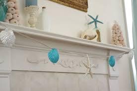 beach decor mantel fireplace garland starfish and seashell