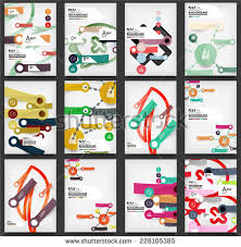 set flyers brochure design templates stickers stock vector