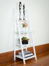 Leaning Ladder Bookcase by Soulful Leaning Ladder Shelf Style Decoration Drawers Along With