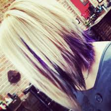 short hairstyles with peekaboo purple layer love the choppy look i love everything about this cut n color