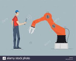 industry 4 0 factory automation concept robot hands controlled by