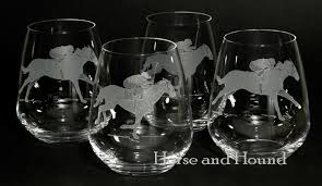 racers etched stemless wine glasses set of 4 etched crystal