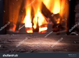 old wooden table front fireplace stock photo 170691377 shutterstock