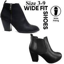 womens ankle boots size 9 wide wide fit ankle boots womens block low mid heel chelsea zip