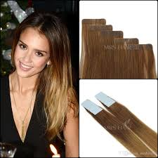 Color Hair Extension by Balayage Ombre Tape Hair Extensions Three Color Tone 6 12 24 Human