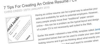Creating An Online Resume by Useful Design Tips Articles To Create A Great Resume