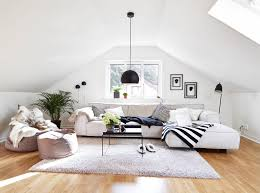 White Fur Cushions Living Room Brown Hardwood Flooring Black Hanging Lamp White Fur