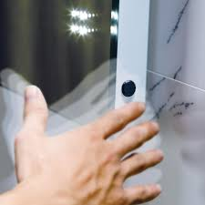 led illuminated bathroom mirror light with sensor and demister 90