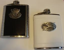 and groom flasks aircraft and emblems on steel flasks and zippos