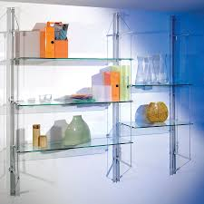 wall mounted shelving system contemporary metal glass fin