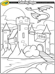 castle with dragon flying above coloring page crayola com