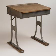 crosby schoolhouse desk l gunmetal and wood schoolhouse desk