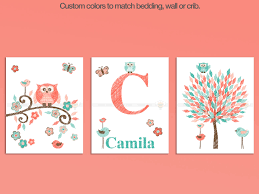 Nursery Owl Decor Coral Teal Owl Themed Nursery Wall Set Precise Bees