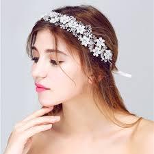 wedding headbands handmade clear bead pearl flower hair band wedding bridal