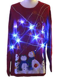 ugly christmas sweater with lights 80s style holiday editions unisex red background cotton ramie