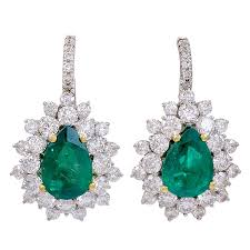 diamond earrings for sale pear shaped untreated emerald and diamond earrings for sale at 1stdibs