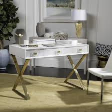 gold and white writing desk safavieh couture high line collection yesenia lacquer white gold