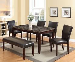 acme 70520 idris 6pcs dining set faux marble top and espresso