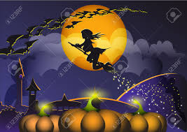 the background of halloween the witch on the broom flies to halloween with bats on a