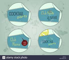 summer cocktail party badge and label layout template with blue