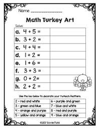 math turkey solve and color addition subtraction worksheets