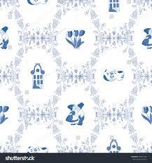 seamless pattern ornaments delft blue stock vector 246041020