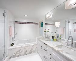 when traditional meets contemporary in transitional small bathroom