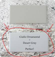 kitchen giallo ornamental granite and desert gray subway tile