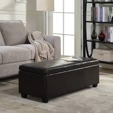Large Storage Ottoman Bench 48 Faux Leather Solid Rectangular Storage Ottoman Bench
