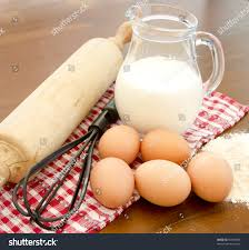 Baking Whisk by Ingredients Baking Eggs Flour Milk Jug Stock Photo 94974094