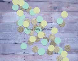 Blue And Gold Baby Shower Decorations by Tribal Party Decor Yellow Mint And Gold Confetti Table