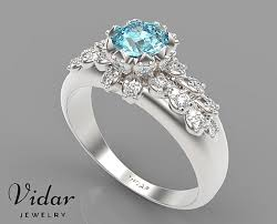 aquamarine and diamond ring aquamarine flower engagement ring vidar jewelry unique custom