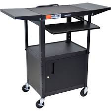 Drop Leaf Kitchen Cart by Avj42kbcdl Adjustable Steel Cart W Cabinet Kb Tray U0026 Drop Leaf
