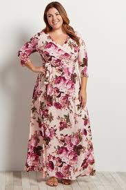 maxi dress with sleeves light pink floral draped 3 4 sleeve maxi dress