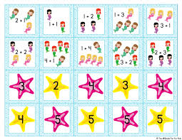mermaid addition memory game simple fun kids