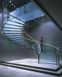 Glass Stair Banister Incredible Loft Spiral Glass Staircase Design Showcasing Blue